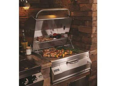 Fire Magic Charcoal Stainless Steel 24'' Built-in BBQ Grill with Smoker Oven Hood MG12SC01CA