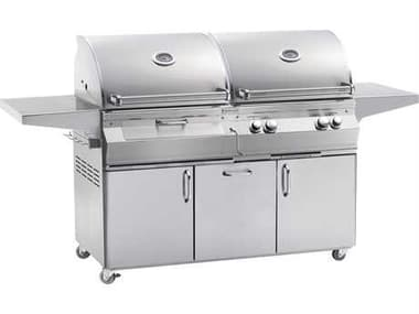 Fire Magic Aurora Dual Natural Gas And Charcoal BBQ Grill With Rotisserie On Cart MGA830S6EAN61CB
