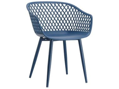 Moe's Home Outdoor Piazza Blue Aluminum Recycled Plastic Dining Chair (Set of 2) MHOQX100126