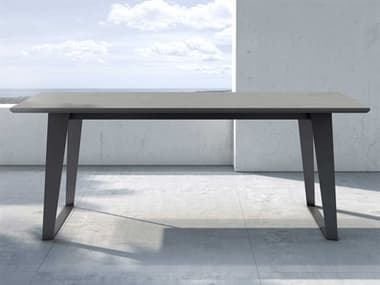 Modloft Outdoor Amsterdam Gray Concrete 79'' Wide Steel Rectangular Dining Table MLODEGHT111COD