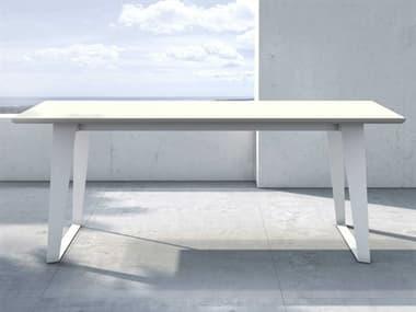 Modloft Outdoor Amsterdam White Sand Concrete 79'' Wide Steel Rectangular Dining Table MLODEGHT111CODWHT
