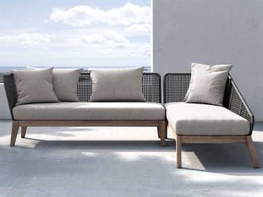 Modloft Outdoor Netta Feather Gray Right Facing Sectional Sofa MLODENET2RADLTEGRA