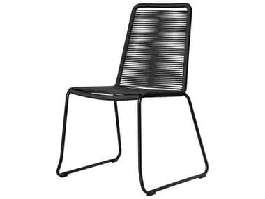Modloft Outdoor Barclay Black Cord Steel Wicker Dining Chair MLODEPAN01BLK