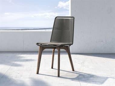Modloft Outdoor Laced Dark Gray Cord / Weathered Eucalyptus Dining Side Chair MLODEPANCWLADGRA