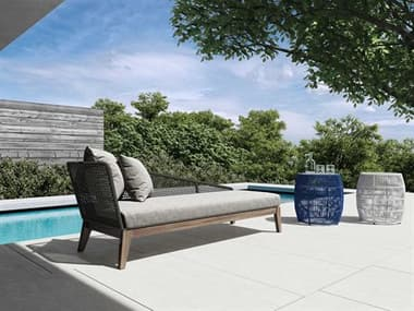 Modloft Outdoor Netta Fabric Wicker Wood Cushion Lounge Set MLODEPXDYRADLTEGRASET