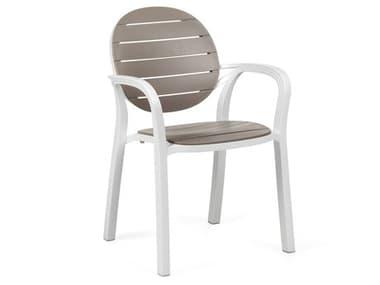 Nardi Palma Fiberglass Resin Bianco / Tortora Stackable Dining Arm Chair NAR4023700010