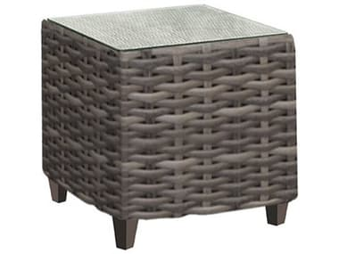 Forever Patio Aberdeen Rye Wicker 22'' Wide Square Glass Top End Table NCFPABEETSQRYE