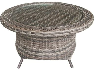 Forever Patio Aberdeen Wicker Rye 36'' Wide Round Glass Top Rotating Chat Table NCFPABERCHTRYE