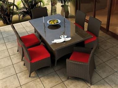 Forever Patio Barbados Wicker Thick 7 Piece Dining Set NCFPBAR7DINREC