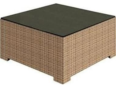 Forever Patio Barbados Wicker 32'' Wide Square Glass Top Coffee Table NCFPBARCTSQ