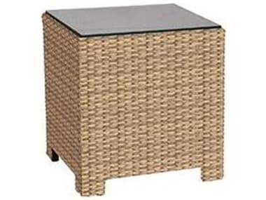 Forever Patio Barbados Wicker 20'' Wide Square Glass Top End Table NCFPBARETSQ