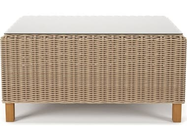 Forever Patio Carlisle Wicker Alabaster 43''W x 24''D Rectangular Glass Top Coffee Table NCFPCARCTAL