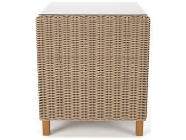 Forever Patio Carlisle Wicker Alabaster 22'' Wide Square Glass Top End Table NCFPCARETAL