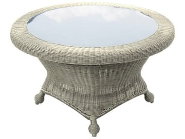 Forever Patio Carlisle Wicker Alabaster 36'' Wide Round Glass Top Rotating Chat Table NCFPCARRCHTAL