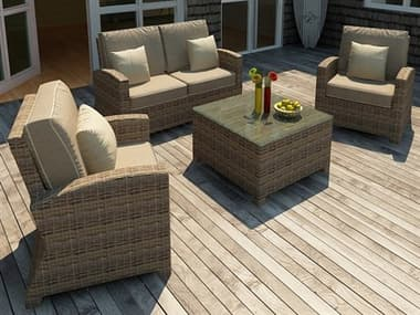 Forever Patio Cypress Wicker Heather Thick 4 Piece Lounge Set NCFPCYP4LSHR