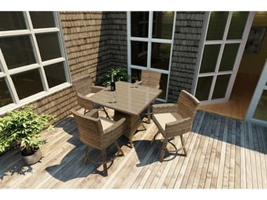 Forever Patio Cypress Wicker Heather Thick 5 Piece Counter Set NCFPCYP5PUBHT