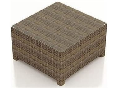 Forever Patio Cypress Wicker Heather Thick 32'' Wide Square Glass Top Coffee Table NCFPCYPCTSQHR