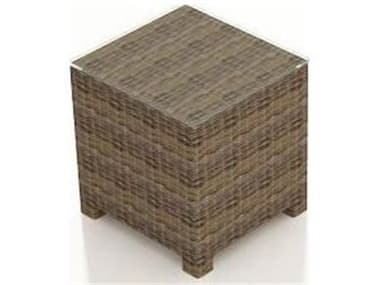 Forever Patio Cypress Wicker Heather Thick 20'' Wide Square Glass Top End Table NCFPCYPETSQHR