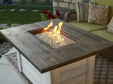 Outdoor Greatroom Alcott Timber Supercast 48''W x 36''D Rectangular Gas Fire Pit Table OGALC1224