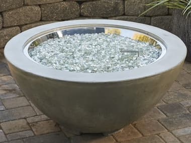 Outdoor Greatroom Cove Natural Grey Supercast Concrete 42'' Wide Round Gas Fire Pit Bowl OGCV30