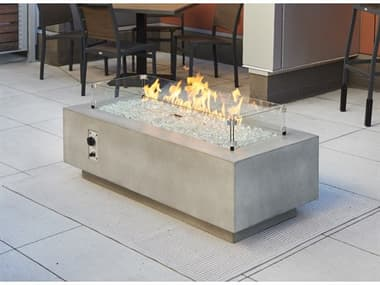 Outdoor Greatroom Cove Concrete Natural Grey 54''W x 24''D Rectangular Linear Gas Fire Table OGCV54