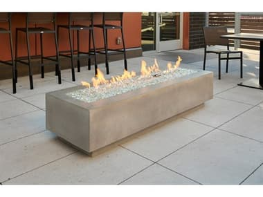Outdoor Greatroom Cove Concrete Natural Grey 72''W x 24''D Rectangular Linear Gas Fire Table OGCV72