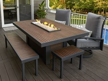 Outdoor Greatroom Kenwood Aluminum Graphite Grey 80''W x 60''D Rectangular Linear Dining Height Gas Fire Pit Table OGKW1242K