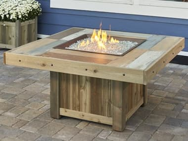 Outdoor Greatroom Vintage Faux Wood Honey Brown 48'' Wide Square Fire Pit Table OGVNG2424BRN