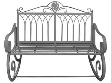 Oakland Living Ornate Antique Grey Steel Iron Porch Garden Rocking Bench Loveseat OL17346RBENCHAG