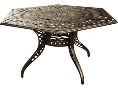 Oakland Living Mesh Modern Bronze Aluminum 63'' Hexagon Dining Table with Lazy Susan OL1822HEX63MESHTABLELAZYBZ