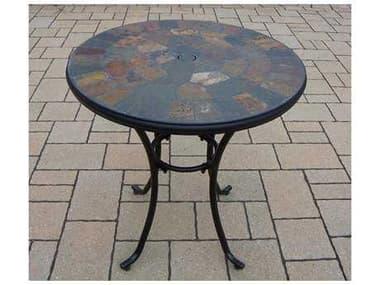 Oakland Living Stone Art Steel 26 Round Bistro Table OL77103TBK