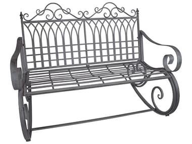 Oakland Living Ornate Antique Grey Steel Iron Porch Garden Rocking Bench Loveseat OLXA016RBENCHAG