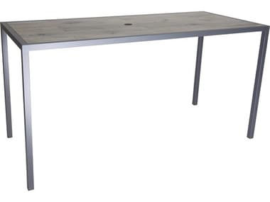 OW Lee Quadra Wrought Iron 75''W x 33''D Rectangular Counter Table with Umbrella Hole OWQD3375CTU
