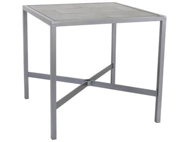 OW Lee Quadra Wrought Iron 39'' Wide Square Counter Table with Umbrella Hole OWQD3939CTU