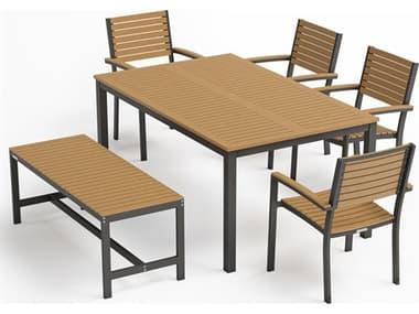 Oxford Garden Travira Natural / Carbon Aluminum Wood Dining Set OXF6121PCC