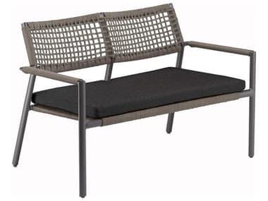 Oxford Garden Eiland Aluminum Cushion Loveseat with Pepper Cushion OXFEDLST112PR
