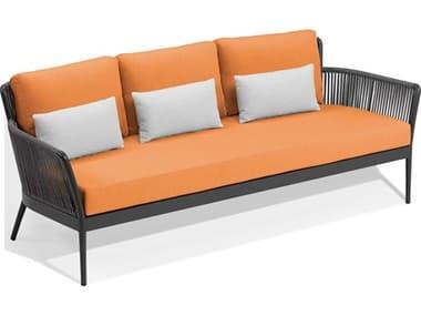 Oxford Garden Nette Aluminum Carbon / Tangerine with Salt Pillow Sofa OXFNTRSOPTGLPSA