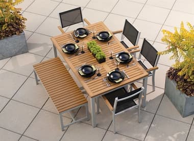 Oxford Garden Travira Aluminum Dining Set OXFTRAVIRA6PCSLINGBENCHDININGSET