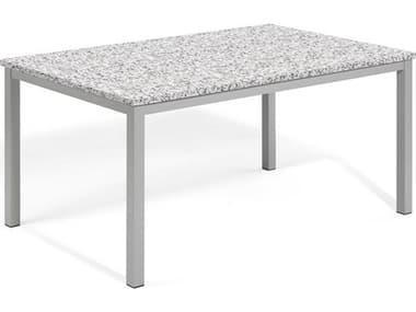 Oxford Garden Travira 63'' Wide Aluminum Rectangular Umbrella Hole Dining Table OXFTV63TARECDININGTABLE