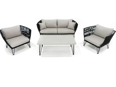 Axcess Inc. Broad 4 Piece Rope Seating Set PABRDRSBLK