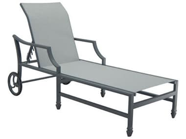 Castelle Lancaster Sling Dining Aluminum Adjustable Chaise Lounge with Wheels PF9C92