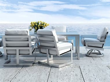 Castelle Eclipse Cushion Cast Aluminum Dining Set PFECLPSCHSDINSET