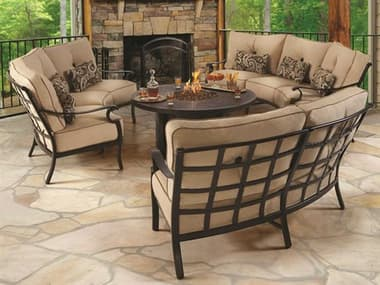 Castelle Monterey Cushion Cast Aluminum Fire Pit Lounge Set PFMONTLNGESET