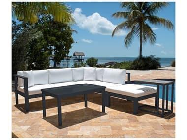Panama Jack Sandcastle Aluminum Grey Cushion 5 Piece Sectional Lounge Set PJPJO2601GRYSET