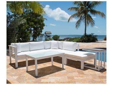 Panama Jack Outdoor Sancastle White Aluminum Cushion 5 Piece Sectional Lounge Set PJPJO2601WHTSET