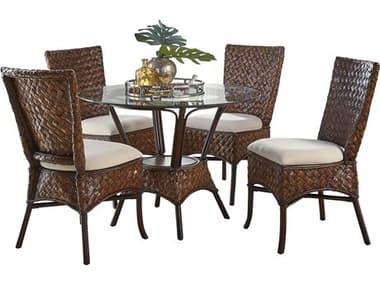 Panama Jack Sunroom Espresso Wicker Cushion 6 Piece Dining Set PJPJS1601ATQ6PD