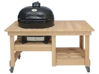 Primo Oval XL Charcoal Grill with Cypress Countertop Table PMPGCXLHPG00612