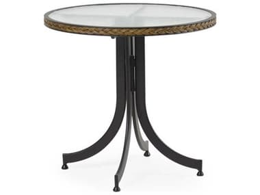 Palm Springs Rattan Cape Town Aluminum 28'' Wide Round Black Bistro Table with Glass Top PS3228