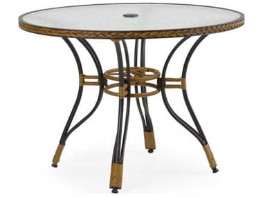 Palm Springs Rattan Cape Town Aluminum 40'' Wide Round Black Dining Table with Glass Top PS3240