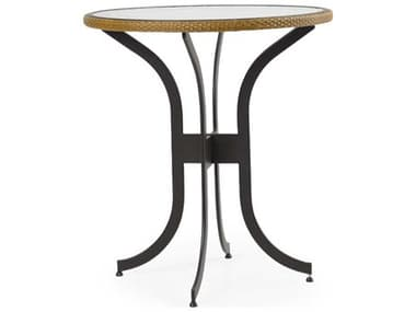 Palm Springs Rattan Cape Town Aluminum 36'' Wide Round Black Bar Height Table with Glass Top PS3299B
